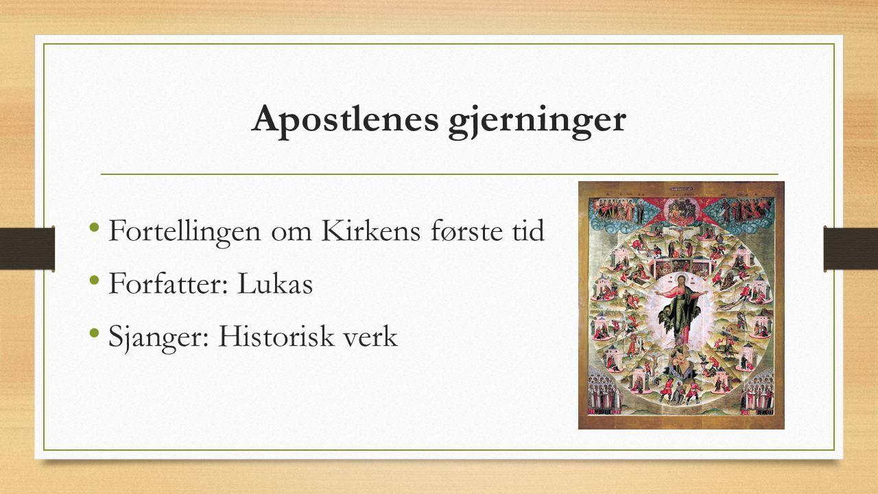 Apostlenes gjerninger Fortellingen om Kirkens første tid Forfatter: Lukas Sjanger: Historisk verk