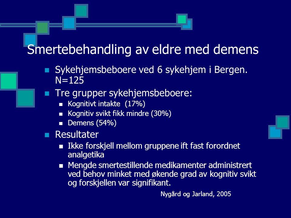 Smertebehandling av eldre med demens Sykehjemsbeboere ved 6 sykehjem i Bergen.