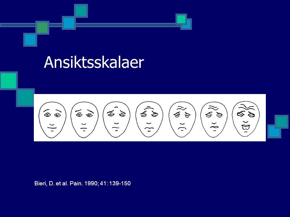 Ansiktsskalaer Bieri, D. et al. Pain. 1990; 41: 139-150