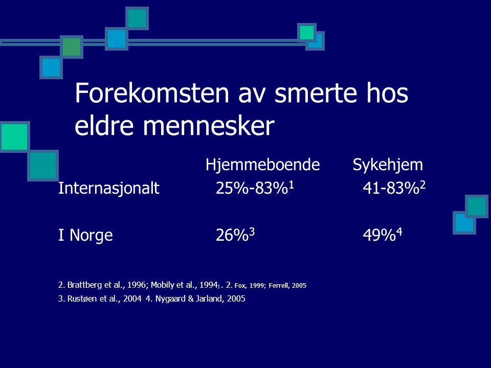 Forekomsten av smerte hos eldre mennesker Hjemmeboende Sykehjem Internasjonalt 25%-83% 1 41-83% 2 I Norge 26% 3 49% 4 2.