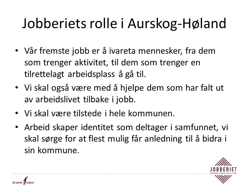 Jobberiets rolle i Aurskog-Høland Vår fremste jobb er å ivareta mennesker, fra dem som trenger aktivitet, til dem som trenger en tilrettelagt arbeidsplass å gå til.