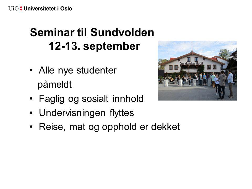 Seminar til Sundvolden 12-13. september Alle nye studenter påmeldt Faglig og sosialt innhold Undervisningen flyttes Reise, mat og opphold er dekket