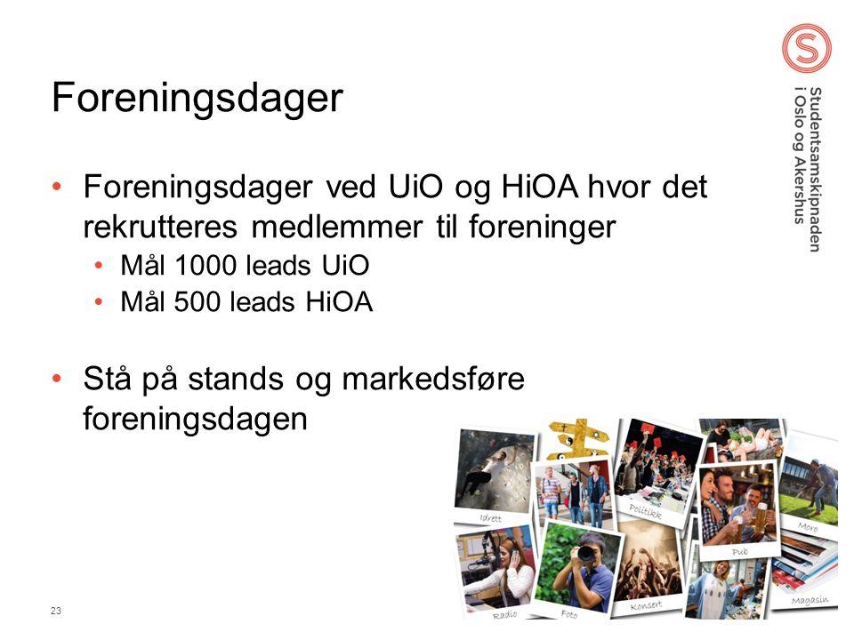 Foreningsdager Foreningsdager ved UiO og HiOA hvor det rekrutteres medlemmer til foreninger Mål 1000 leads UiO Mål 500 leads HiOA Stå på stands og markedsføre foreningsdagen 25.09.2016 SiO 23
