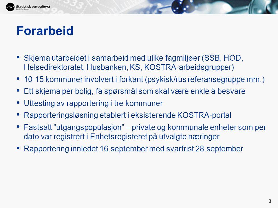 3 Forarbeid Skjema utarbeidet i samarbeid med ulike fagmiljøer (SSB, HOD, Helsedirektoratet, Husbanken, KS, KOSTRA-arbeidsgrupper) 10-15 kommuner invo