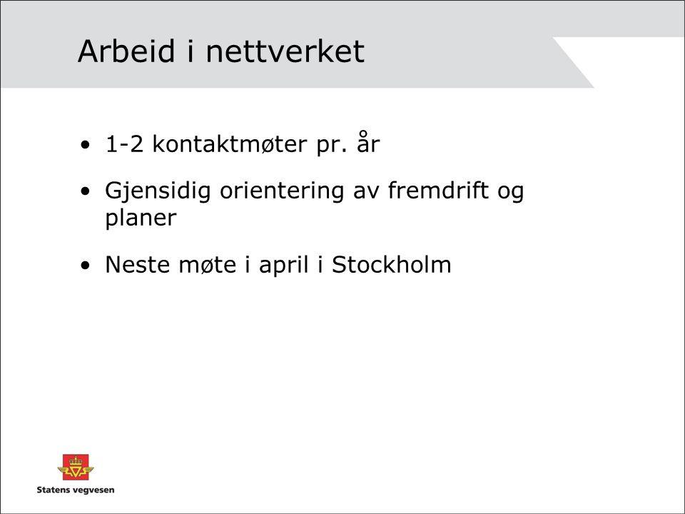Arbeid i nettverket 1-2 kontaktmøter pr.