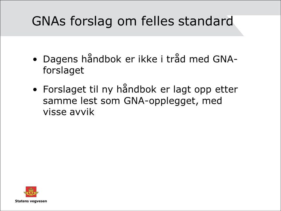 GNAs forslag om felles standard Dagens håndbok er ikke i tråd med GNA- forslaget Forslaget til ny håndbok er lagt opp etter samme lest som GNA-opplegget, med visse avvik