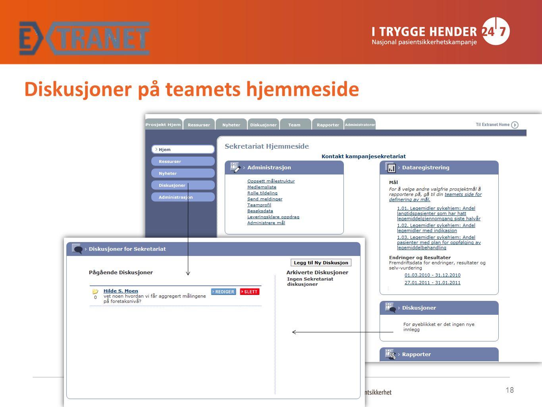 Diskusjoner på teamets hjemmeside 18