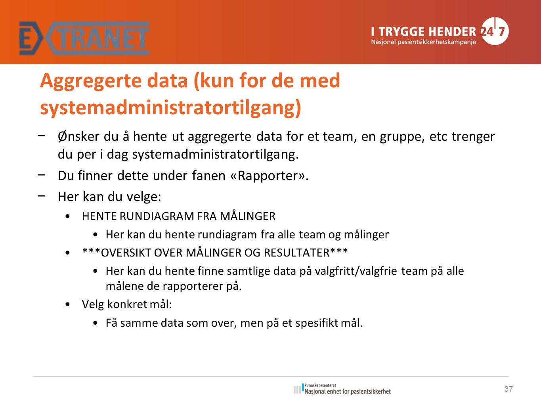 Aggregerte data (kun for de med systemadministratortilgang) − Ønsker du å hente ut aggregerte data for et team, en gruppe, etc trenger du per i dag systemadministratortilgang.