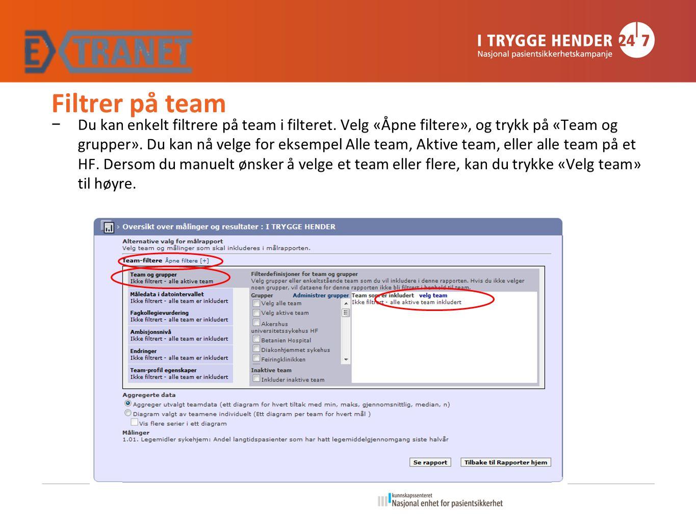 Filtrer på team − Du kan enkelt filtrere på team i filteret.