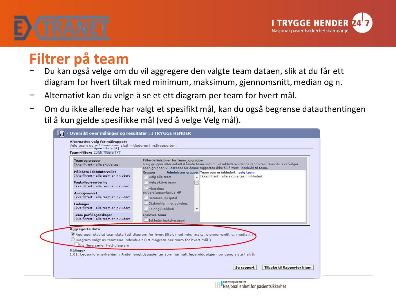 Filtrer på team − Du kan også velge om du vil aggregere den valgte team dataen, slik at du får ett diagram for hvert tiltak med minimum, maksimum, gjennomsnitt, median og n.