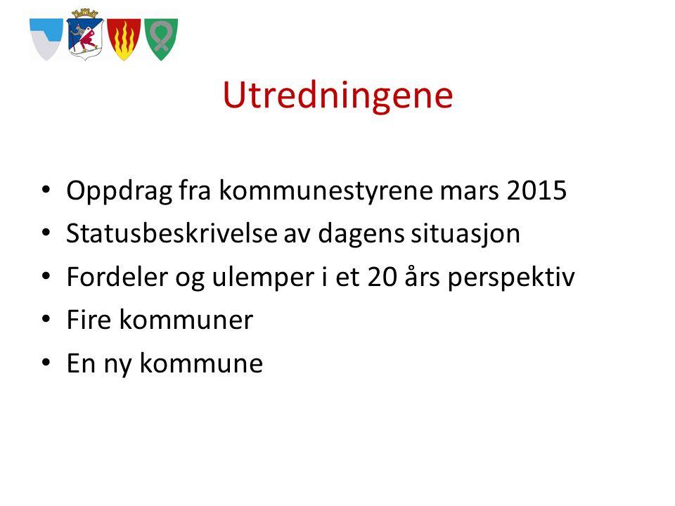 Utredningene Oppdrag fra kommunestyrene mars 2015 Statusbeskrivelse av dagens situasjon Fordeler og ulemper i et 20 års perspektiv Fire kommuner En ny kommune