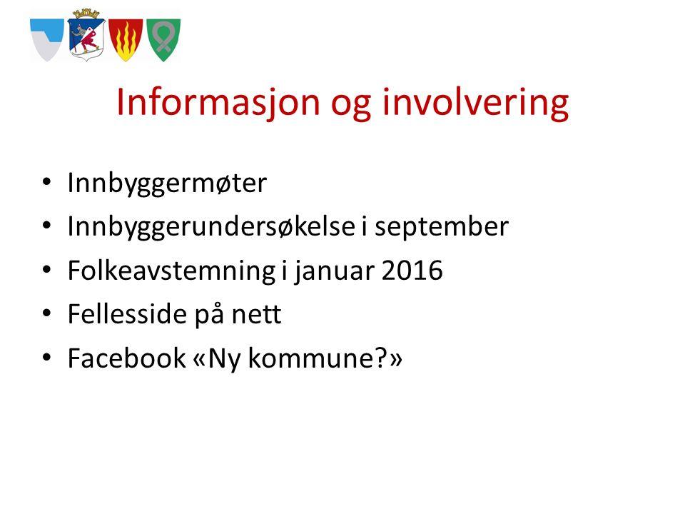 Informasjon og involvering Innbyggermøter Innbyggerundersøkelse i september Folkeavstemning i januar 2016 Fellesside på nett Facebook «Ny kommune »