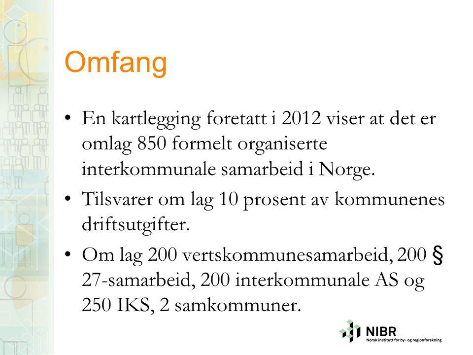 Omfang En kartlegging foretatt i 2012 viser at det er omlag 850 formelt organiserte interkommunale samarbeid i Norge.