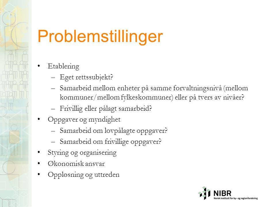 Problemstillinger Etablering –Eget rettssubjekt.