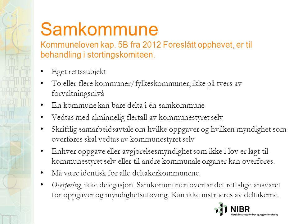 Samkommune Kommuneloven kap. 5B fra 2012 Foreslått opphevet, er til behandling i stortingskomiteen.