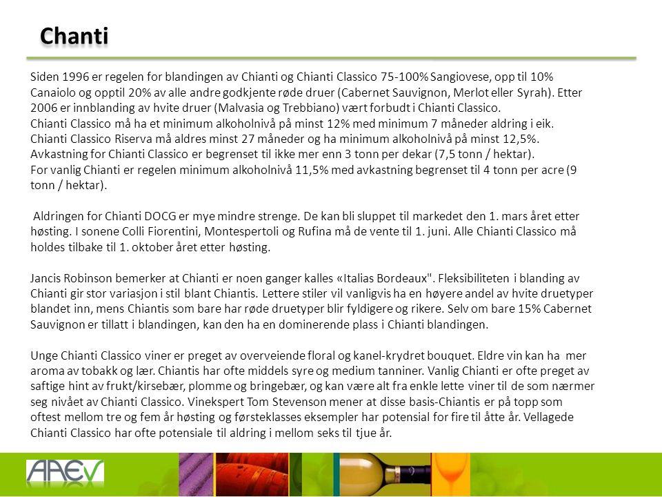 Chanti Siden 1996 er regelen for blandingen av Chianti og Chianti Classico 75-100% Sangiovese, opp til 10% Canaiolo og opptil 20% av alle andre godkjente røde druer (Cabernet Sauvignon, Merlot eller Syrah).