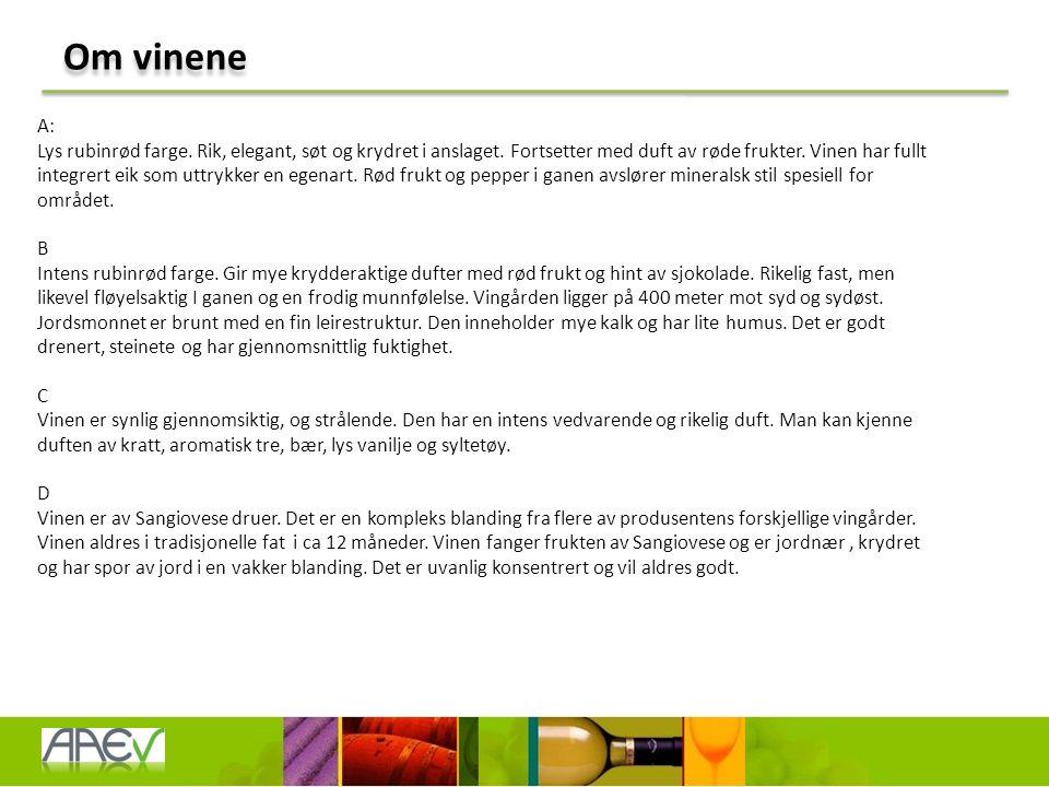 Om vinene A: Lys rubinrød farge. Rik, elegant, søt og krydret i anslaget.