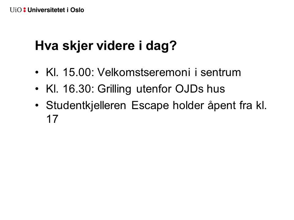 Hva skjer videre i dag? Kl. 15.00: Velkomstseremoni i sentrum Kl. 16.30: Grilling utenfor OJDs hus Studentkjelleren Escape holder åpent fra kl. 17