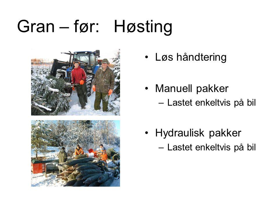 Gran – før: Høsting Løs håndtering Manuell pakker –Lastet enkeltvis på bil Hydraulisk pakker –Lastet enkeltvis på bil