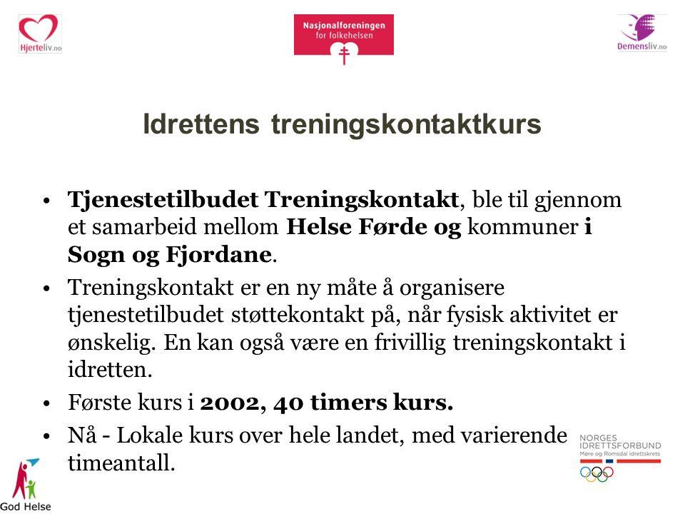 Idrettens treningskontaktkurs Tjenestetilbudet Treningskontakt, ble til gjennom et samarbeid mellom Helse Førde og kommuner i Sogn og Fjordane.