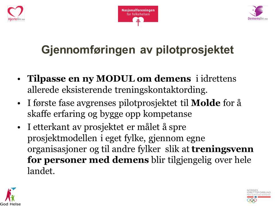 Gjennomføringen av pilotprosjektet Tilpasse en ny MODUL om demens i idrettens allerede eksisterende treningskontaktording.