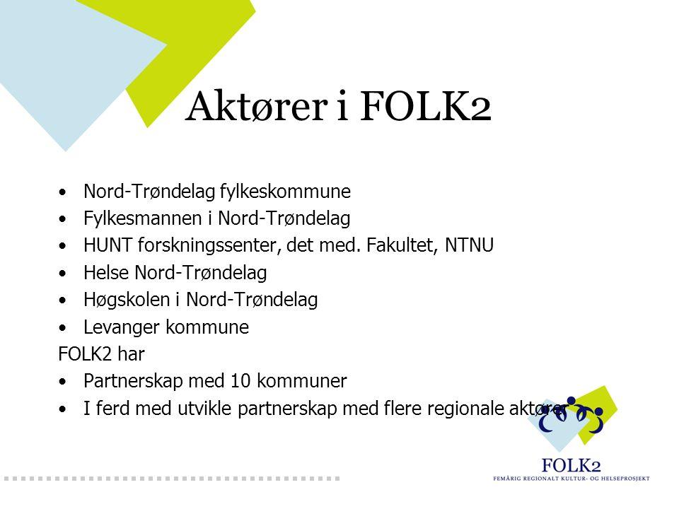 Aktører i FOLK2 Nord-Trøndelag fylkeskommune Fylkesmannen i Nord-Trøndelag HUNT forskningssenter, det med. Fakultet, NTNU Helse Nord-Trøndelag Høgskol