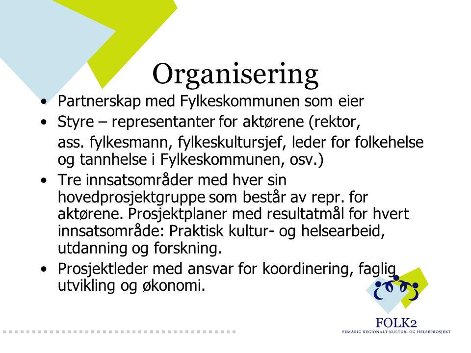 Organisering Partnerskap med Fylkeskommunen som eier Styre – representanter for aktørene (rektor, ass. fylkesmann, fylkeskultursjef, leder for folkehe
