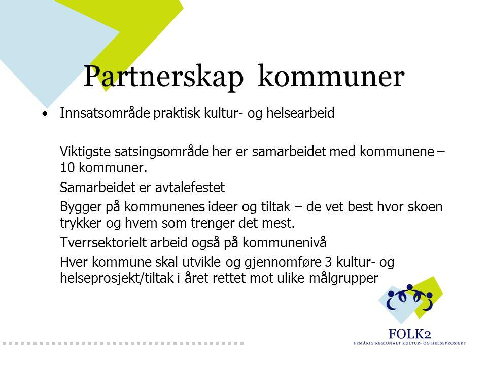 Partnerskap kommuner Innsatsområde praktisk kultur- og helsearbeid Viktigste satsingsområde her er samarbeidet med kommunene – 10 kommuner. Samarbeide