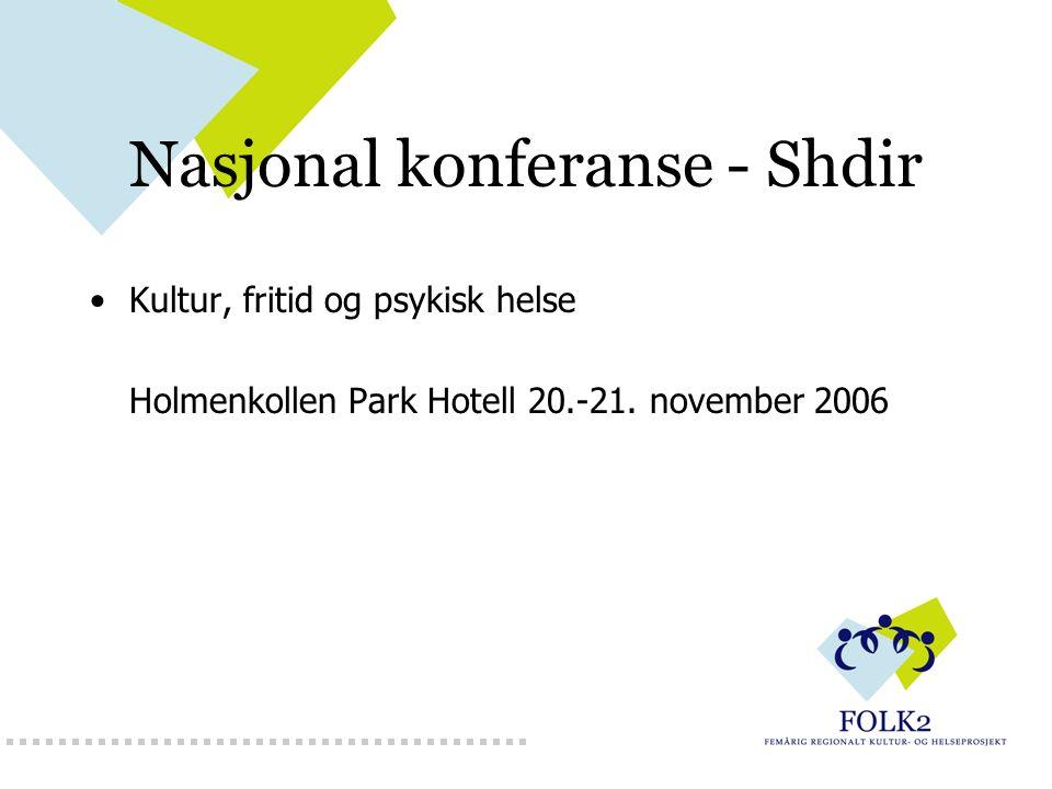 Nasjonal konferanse - Shdir Kultur, fritid og psykisk helse Holmenkollen Park Hotell 20.-21.