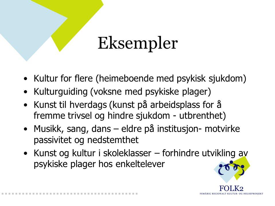 Eksempler Kultur for flere (heimeboende med psykisk sjukdom) Kulturguiding (voksne med psykiske plager) Kunst til hverdags (kunst på arbeidsplass for