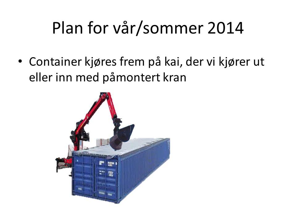 Plan for vår/sommer 2014 Container kjøres frem på kai, der vi kjører ut eller inn med påmontert kran