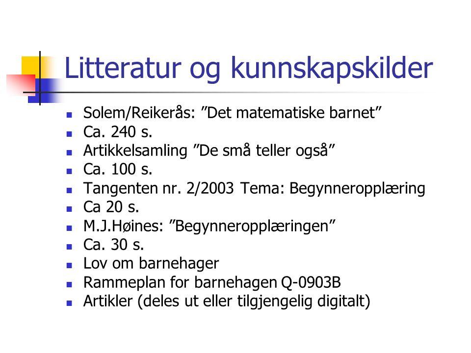 """Litteratur og kunnskapskilder Solem/Reikerås: """"Det matematiske barnet"""" Ca. 240 s. Artikkelsamling """"De små teller også"""" Ca. 100 s. Tangenten nr. 2/2003"""