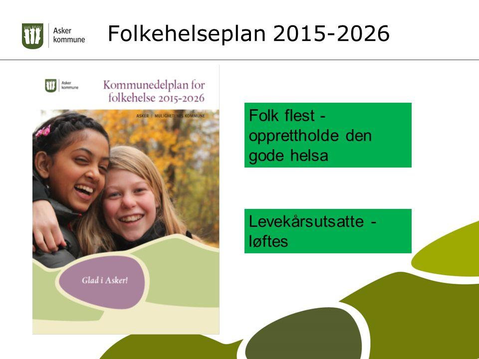Folkehelseplan 2015-2026 Folk flest - opprettholde den gode helsa Levekårsutsatte - løftes