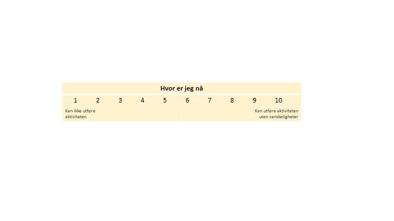 Hvor er jeg nå 1 2 3 4 5 6 7 8 9 10 Kan ikke utføre aktiviteten Kan utføre aktiviteten uten vanskeligheter