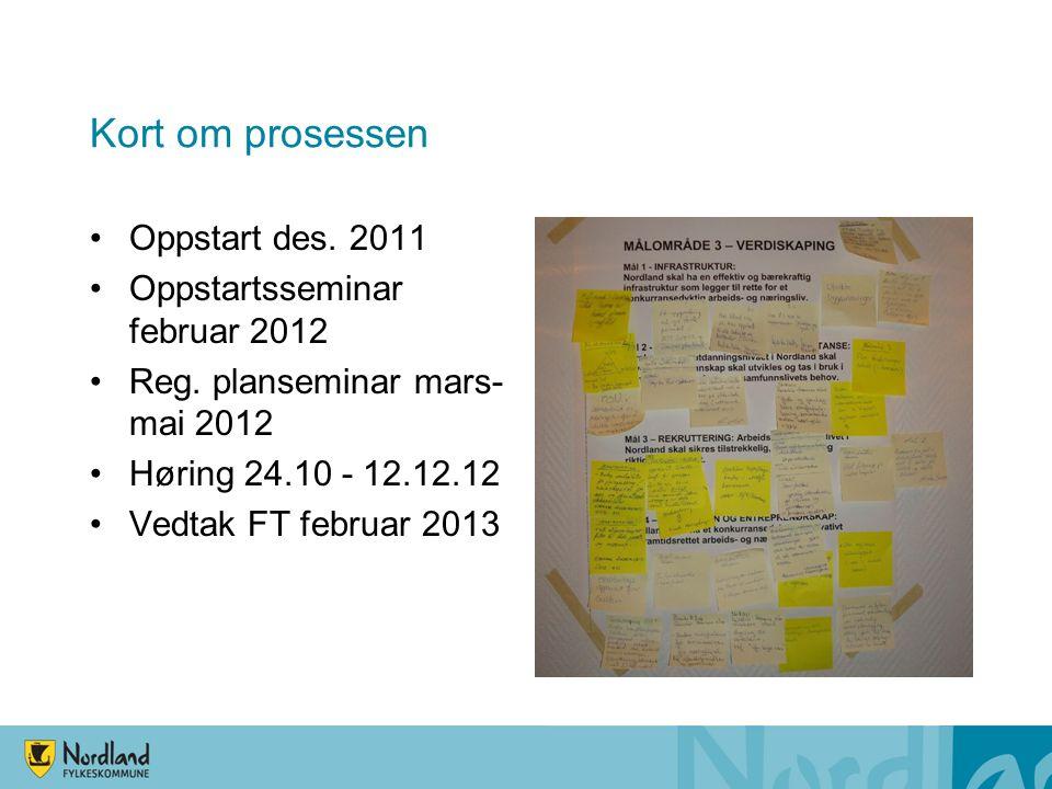 Kort om prosessen Oppstart des.2011 Oppstartsseminar februar 2012 Reg.