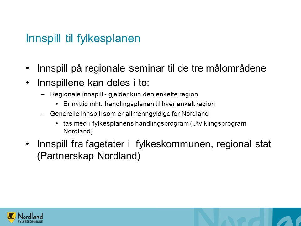 Innspill til fylkesplanen Innspill på regionale seminar til de tre målområdene Innspillene kan deles i to: –Regionale innspill - gjelder kun den enkelte region Er nyttig mht.