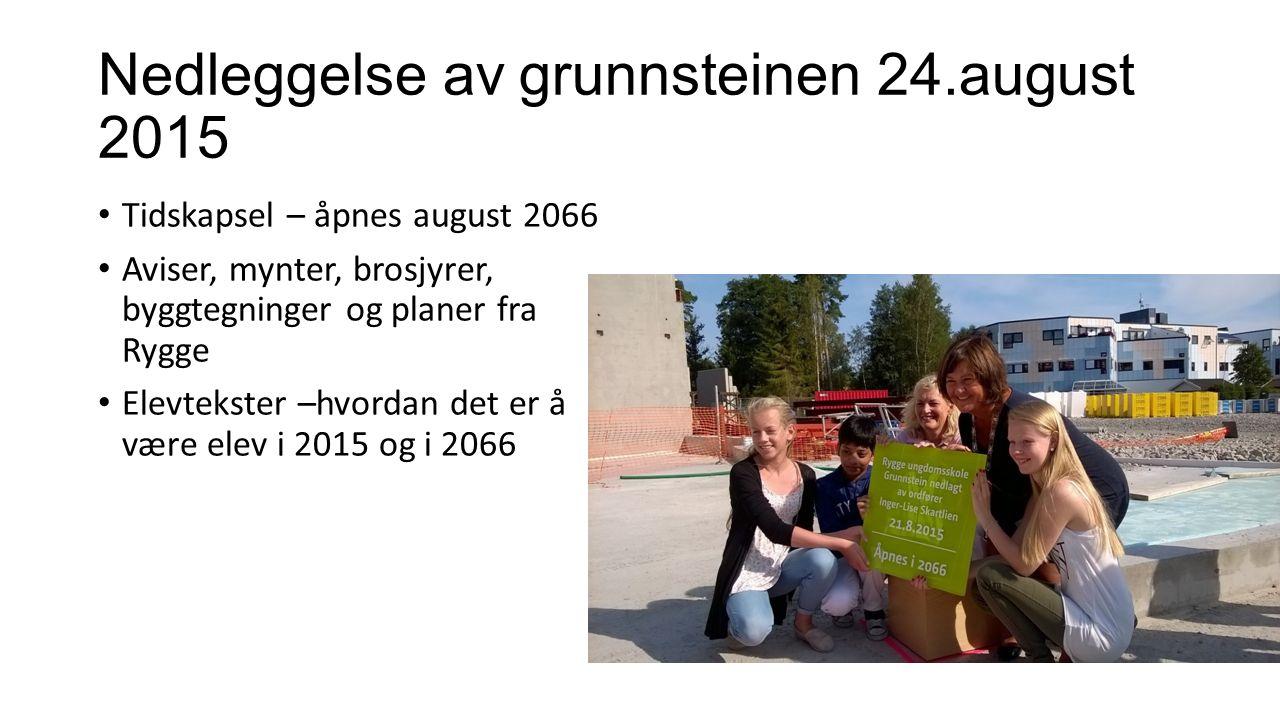 Nedleggelse av grunnsteinen 24.august 2015 Tidskapsel – åpnes august 2066 Aviser, mynter, brosjyrer, byggtegninger og planer fra Rygge Elevtekster –hv