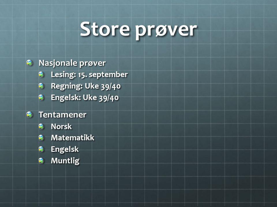 Store prøver Nasjonale prøver Lesing: 15. september Regning: Uke 39/40 Engelsk: Uke 39/40 TentamenerNorskMatematikkEngelskMuntlig