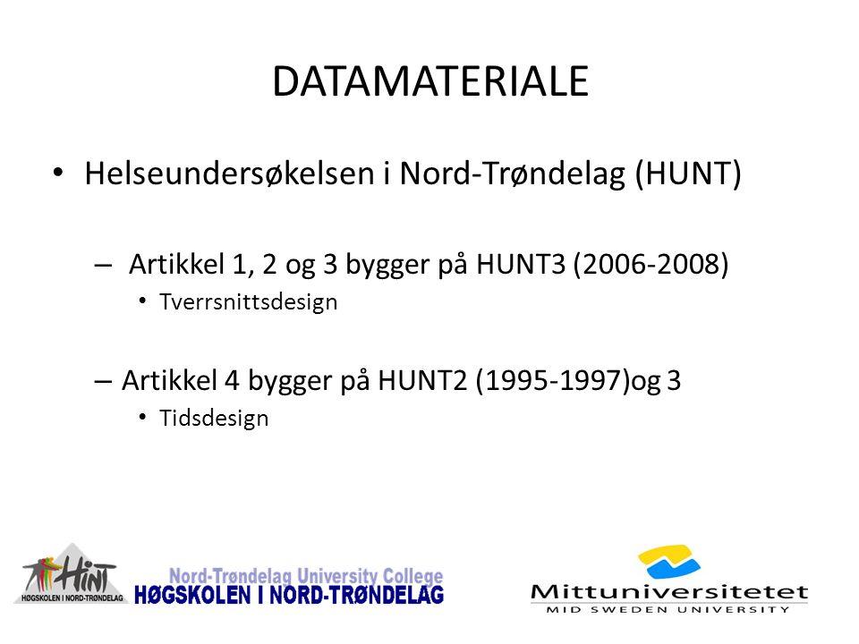 DATAMATERIALE Helseundersøkelsen i Nord-Trøndelag (HUNT) – Artikkel 1, 2 og 3 bygger på HUNT3 (2006-2008) Tverrsnittsdesign – Artikkel 4 bygger på HUNT2 (1995-1997)og 3 Tidsdesign