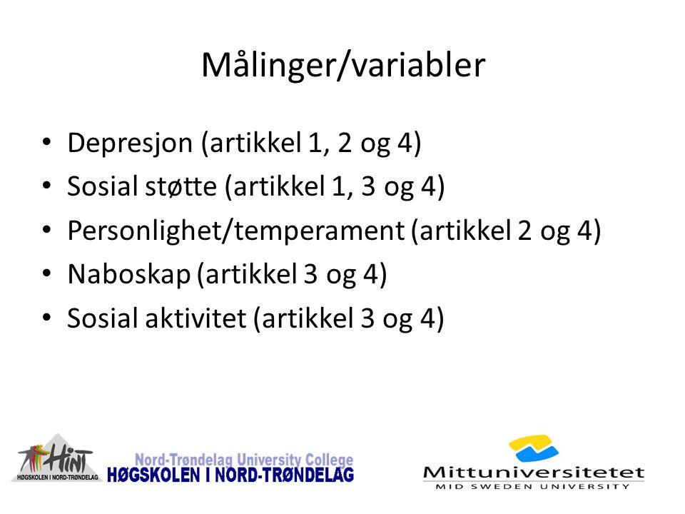 Målinger/variabler Depresjon (artikkel 1, 2 og 4) Sosial støtte (artikkel 1, 3 og 4) Personlighet/temperament (artikkel 2 og 4) Naboskap (artikkel 3 og 4) Sosial aktivitet (artikkel 3 og 4)