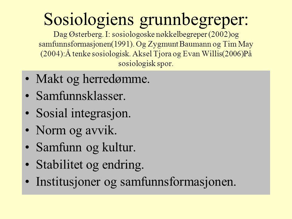 Sosiologiens grunnbegreper: Dag Østerberg.