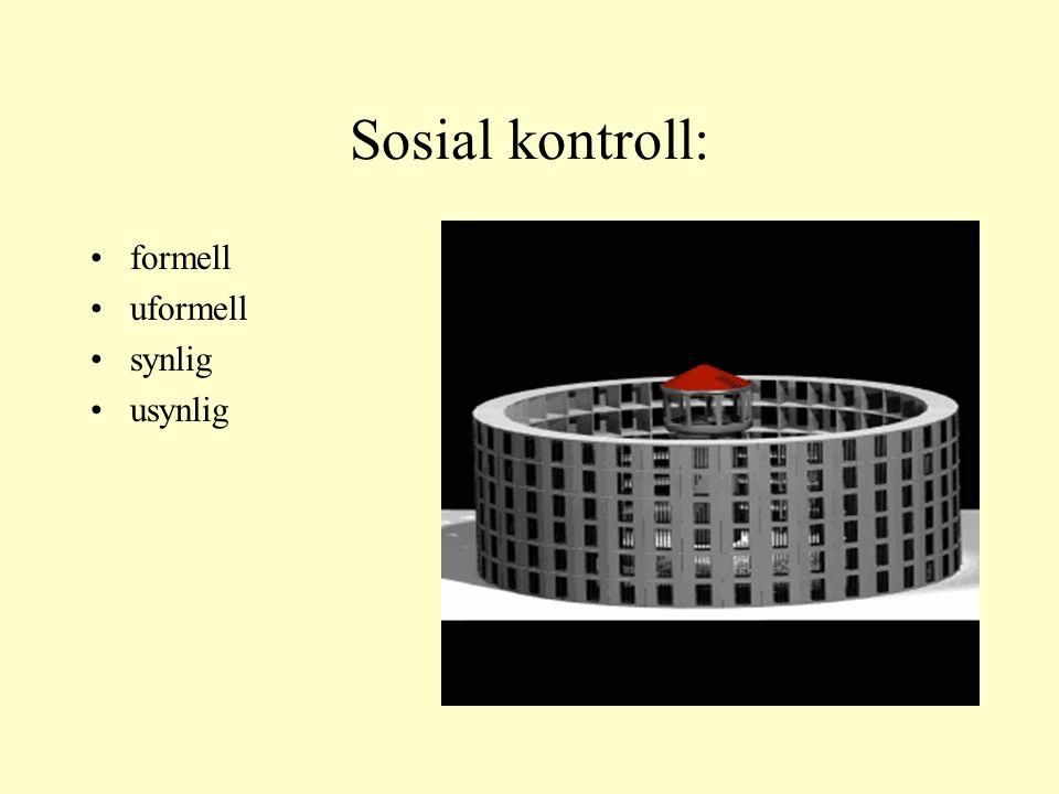 Sosial kontroll: formell uformell synlig usynlig