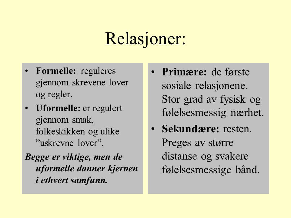 Relasjoner: Formelle: reguleres gjennom skrevene lover og regler.