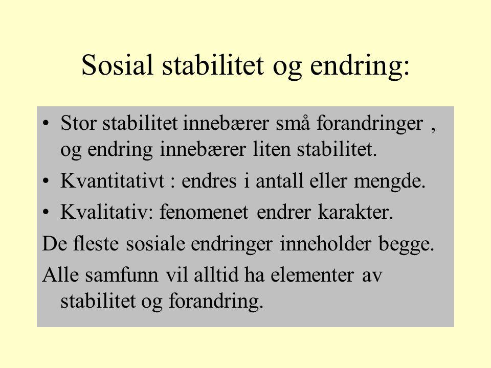 Sosial stabilitet og endring: Stor stabilitet innebærer små forandringer, og endring innebærer liten stabilitet.