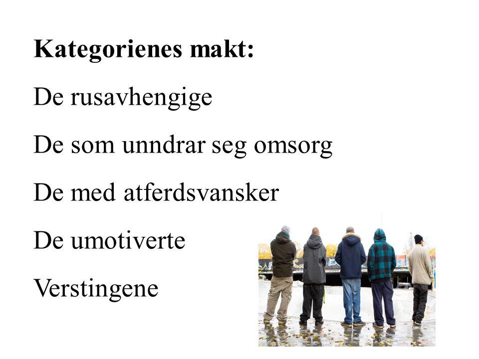 Kategorienes makt: De rusavhengige De som unndrar seg omsorg De med atferdsvansker De umotiverte Verstingene
