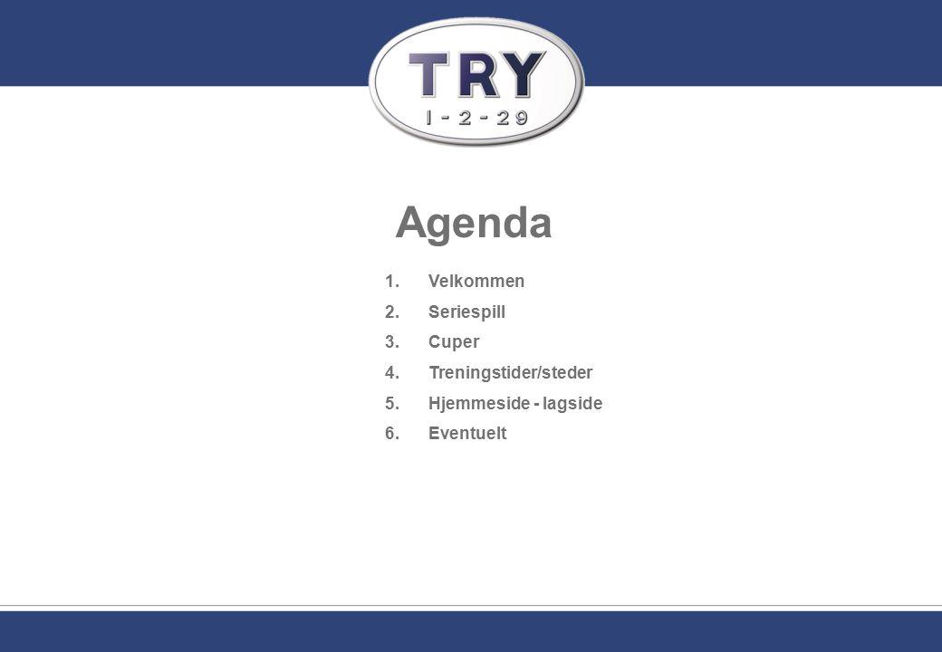 Agenda 1.Velkommen 2.Seriespill 3.Cuper 4.Treningstider/steder 5.Hjemmeside - lagside 6.Eventuelt