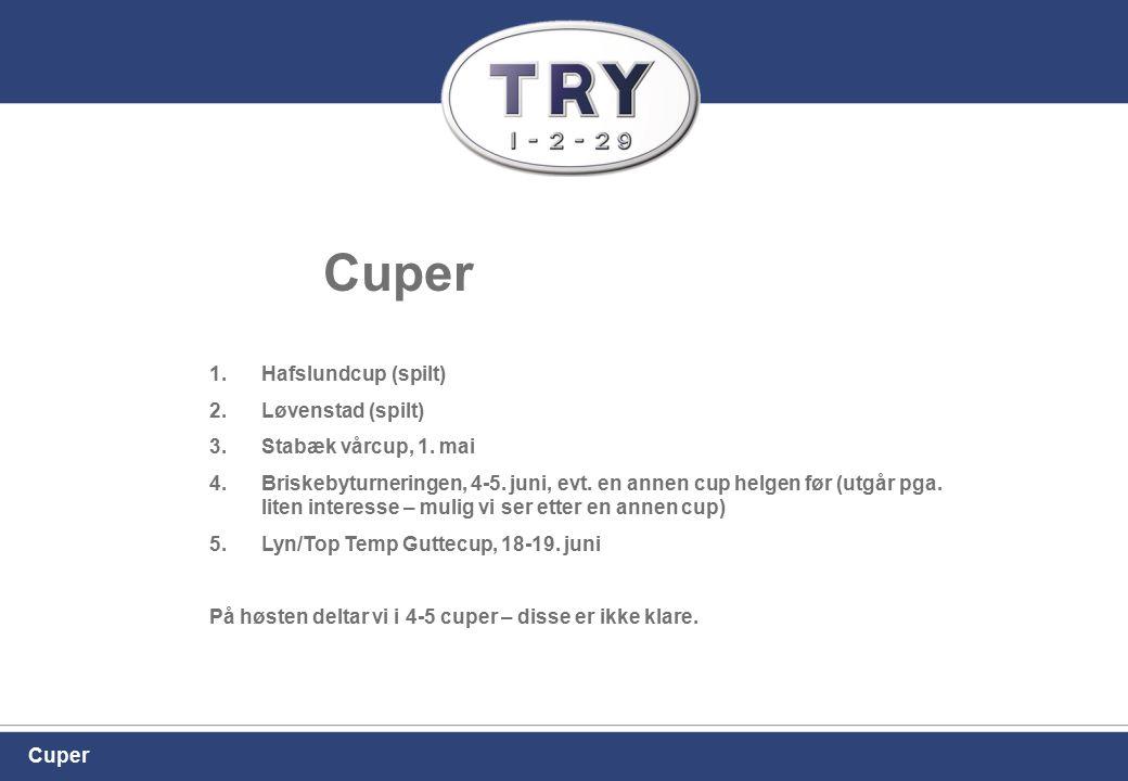 Cuper 1.Hafslundcup (spilt) 2.Løvenstad (spilt) 3.Stabæk vårcup, 1. mai 4.Briskebyturneringen, 4-5. juni, evt. en annen cup helgen før (utgår pga. lit