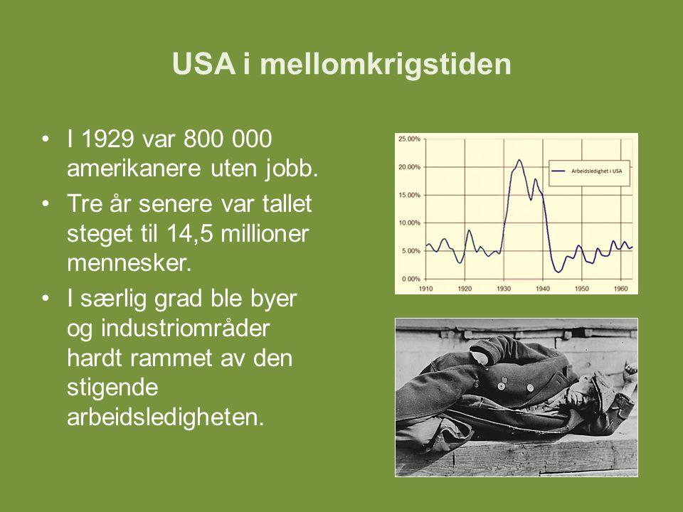 USA i mellomkrigstiden For mange medførte arbeidsledigheten at man mistet hjemmene sine.