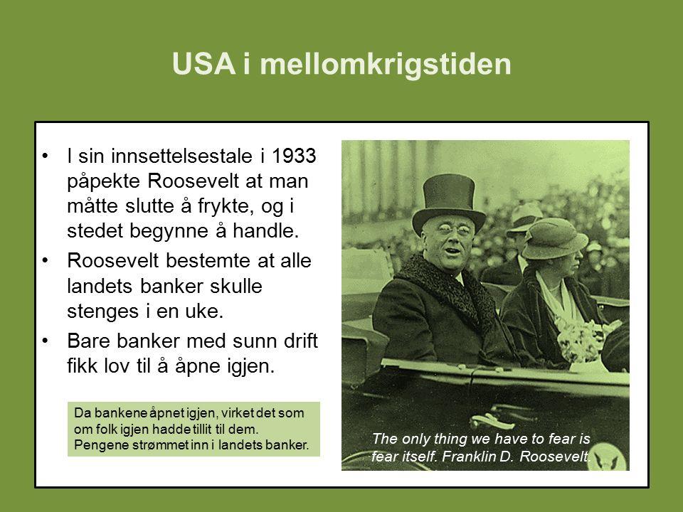USA i mellomkrigstiden I sin innsettelsestale i 1933 påpekte Roosevelt at man måtte slutte å frykte, og i stedet begynne å handle.