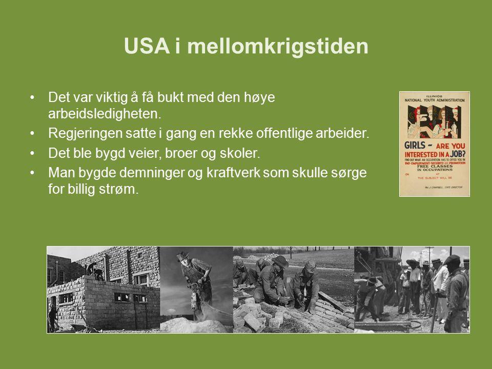 USA i mellomkrigstiden En viktig del av New Deal var at arbeidsledige mennesker skulle få utbetalt trygd.